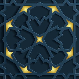 Wektorowy złoty arabski ornament na ciemnym tle. służy do projektowania zaproszeń, kart, banerów i innych.