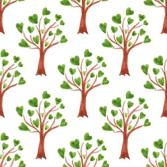 Wektorowych akwareli drzew bezszwowy wzór. drzewa z liśćmi w sercach.