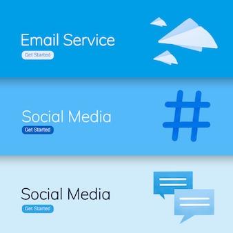 Wektory bannerów aplikacji mediów społecznych