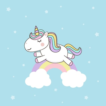 Wektory cute unicorn cartoon character z pastelową tęczą. kawaii filly unicorn