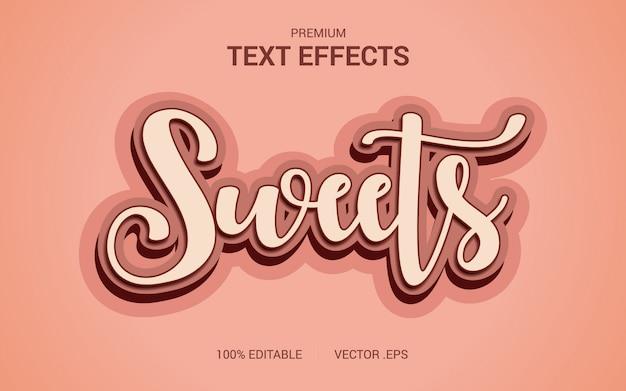 Wektory efekt tekstowy słodyczy, ustaw elegancki różowy fioletowy efekt tekstowy streszczenie słodyczy