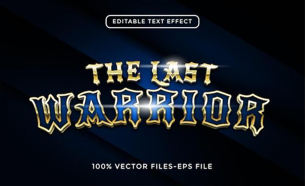 Wektory premium z edytowalnym efektem tekstowym wojownika