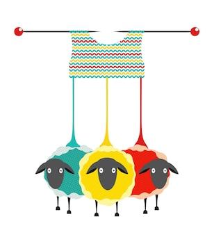 Wełna owcza i dziewiarskie lub szydełkowe projektowanie hobby knitting logo graficzne