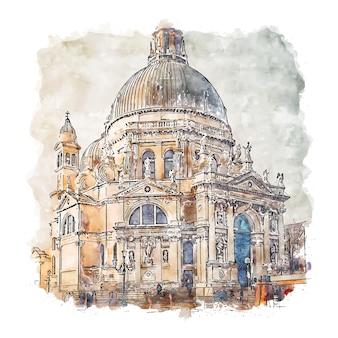 Wenecja włochy szkic akwarela ręcznie rysowane ilustracja