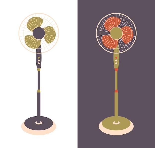Wentylator elektryczny na białym tle. urządzenia gospodarstwa domowego do chłodzenia i klimatyzacji powietrza, klimatyzacji. ilustracja w mieszkaniu