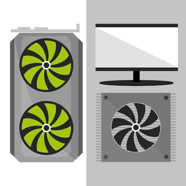 Wentylator i ekran komputera