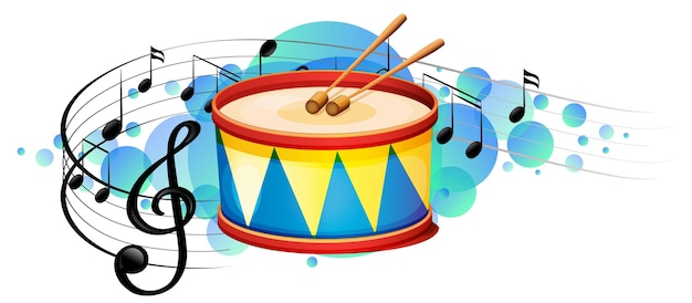 Werbel instrument perkusyjny z symbolami melodii na błękitnej plamie