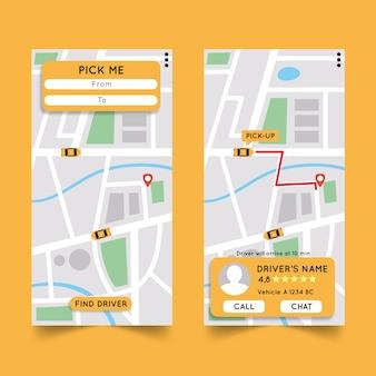 Wersje interfejsu aplikacji taxi