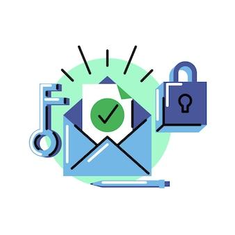 Weryfikacja adresu e-mail. ikona wektora w stylu pogrubionej linii