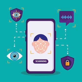 Weryfikacja Biometryczna Smartfona Premium Wektorów