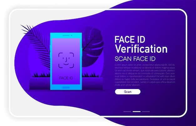 Weryfikacja identyfikatora twarzy w przeglądarce okna koncepcji telefonu na ciemnym tle gradientu. ilustracja wektorowa.