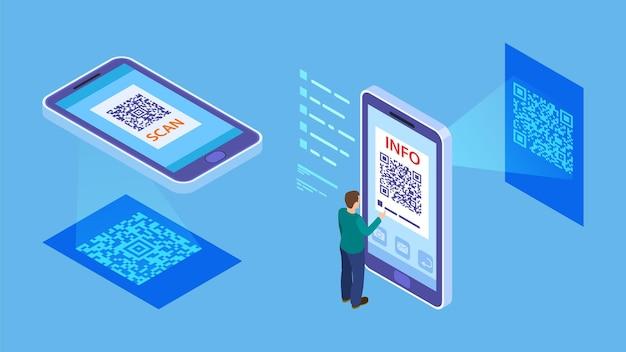 Weryfikacja kodu qr. mobilne skanowanie izometryczne kodów kreskowych, klient płaci za pomocą skanera telefonu. informacje o kodzie qr dla ilustracji wektorowych. skaner do smartfonów, izometryczny qr online