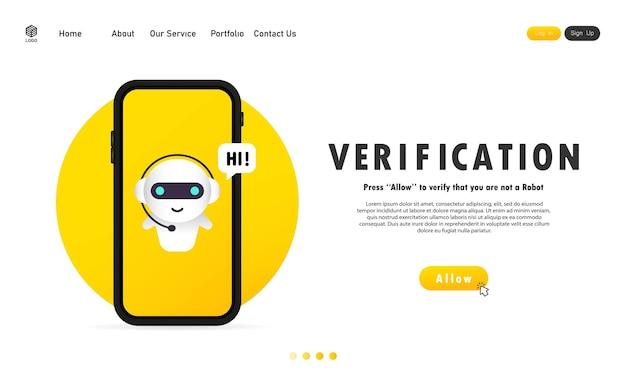Weryfikacja na banerze na smartfonie. prywatność informacji, technologie weryfikacji, system kontroli dostępu. wektor na na białym tle. eps 10