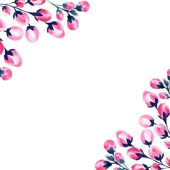 Wesele akwarela różowy kwiatowy ramki.