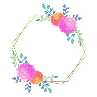 Wesele kwiatowy rama sześciokątnym stylu