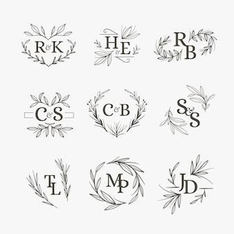 Wesele monogramy kwiatowy wzór