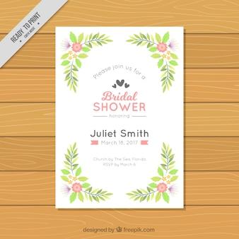 Wesele prysznicem zaproszenia z kwiatowej dekoracji na płaskiej konstrukcji