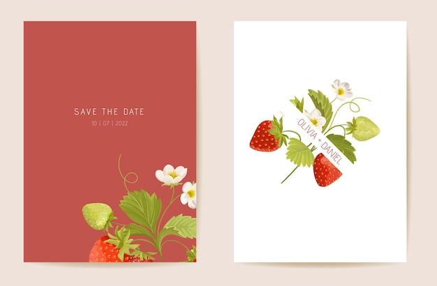 Wesele truskawka kwiatowy wektor karta, egzotyczne jagody, kwiaty, liście zaproszenie. rama szablon akwarela. botaniczny okładka z liści save the date, modny projekt imprezowy, luksusowe tło