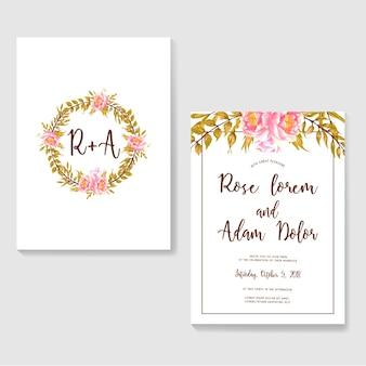 Wesele zaproszenie vintage różowy akwarela