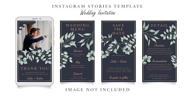 Weselne historie na instagramie z motywem liści akwareli