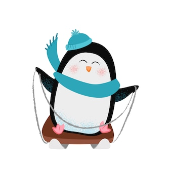 Wesoły kreskówka pingwina w szaliku i kapelusz sankach