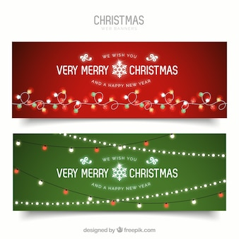 Wesołych Świąt banery ze światłami