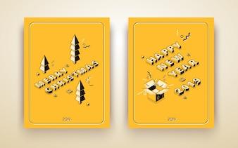 Wesołych Świąt i szczęśliwego nowego roku izometryczny kartkę z życzeniami, plakat wakacje