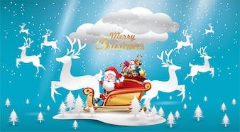 Wesołych Świąt Mikołaj Mikołaj jeździ saniami reniferowymi