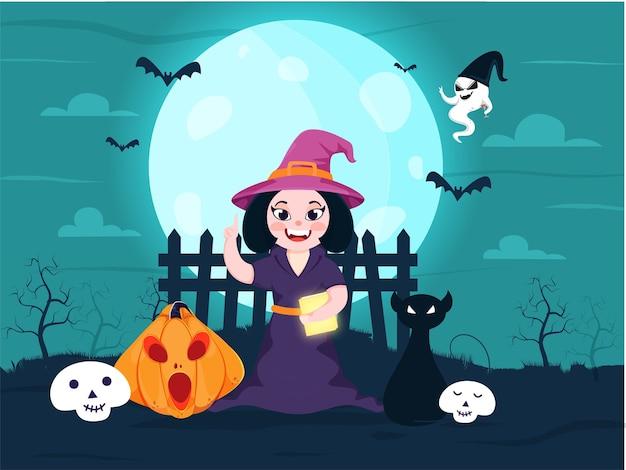 Wesoła czarownica trzyma książkę z palcem wskazującym