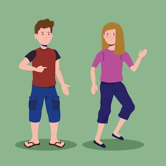 Wesoła dziewczyna i chłopak rozmawiają z ubrań
