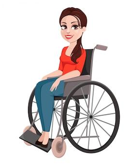 Wesoła dziewczyna na wózku inwalidzkim