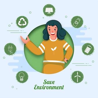 Wesoła dziewczyna pokazuje coś z ręki na niebieskim tle cięcia papieru dla koncepcji ochrony środowiska.