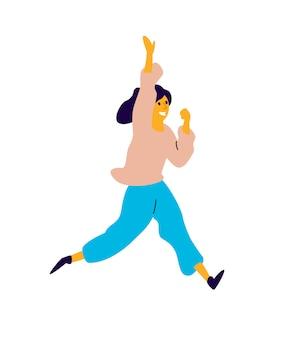 Wesoła dziewczyna tańczy.