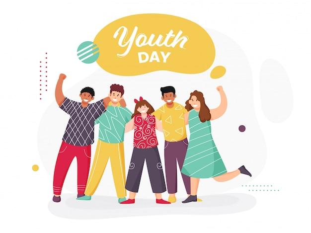 Wesoła grupa młodych chłopców i dziewcząt, która pozuje do robienia zdjęć z okazji dnia młodzieży.