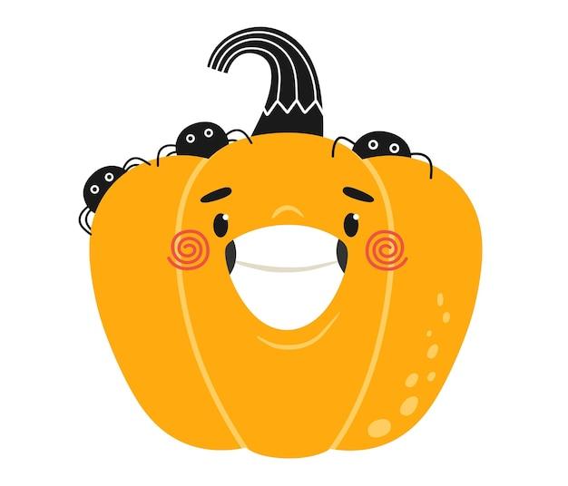 Wesoła i szczęśliwa dynia z pająkami na halloween ilustracja dla dzieci na ubrania