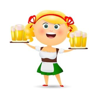 Wesoła kelnerka niosąca piwo