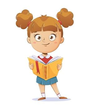 Wesoła uczennica trzyma książkę. zabawna postać z kreskówki. powrót do koncepcji szkoły