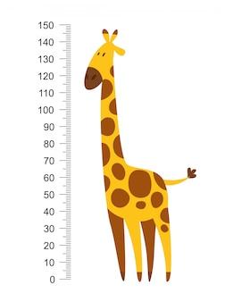 Wesoła zabawna żyrafa z długą szyją. miernik wysokości lub metr naklejki ścienne lub ścienne od 0 do 150 centymetrów do pomiaru wzrostu. ilustracja wektorowa dla dzieci