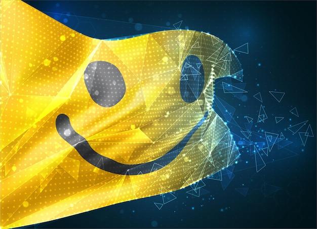 Wesoła żółta flaga wektora uśmiechu, wirtualny abstrakcyjny obiekt 3d z trójkątnych wielokątów na niebieskim tle