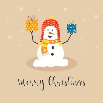 Wesołe bałwanki świąteczne z różnymi prezentami. zabawny człowiek śniegu w kapeluszu, szalik z drzewa. uroczysty szczęśliwy boże narodzenie wakacje słodkie postacie, płaskie wektor kreskówka.