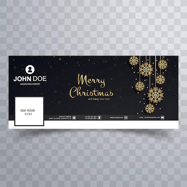 Wesołe kartki świąteczne facebook banner szablon projektu