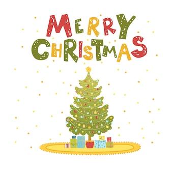 Wesołe kartki świąteczne z choinką i prezentami.