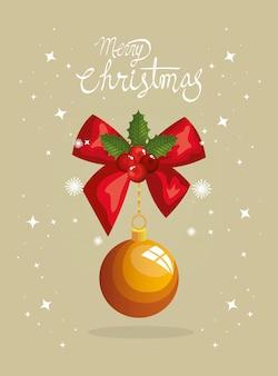Wesołe kartki świąteczne z kokardą wstążki i wiszące piłki