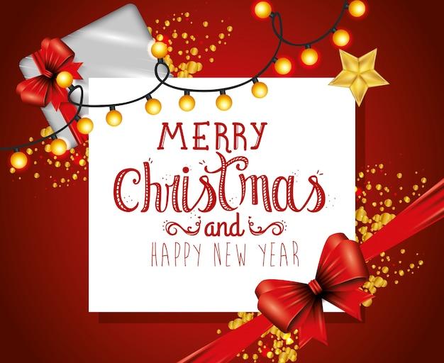 Wesołe kartki świąteczne z kokardą wstążki i wiszące światła