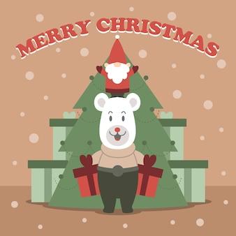 Wesołe kartki świąteczne z misiem i prezentami