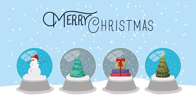 Wesołe kartki świąteczne z śnieżkami