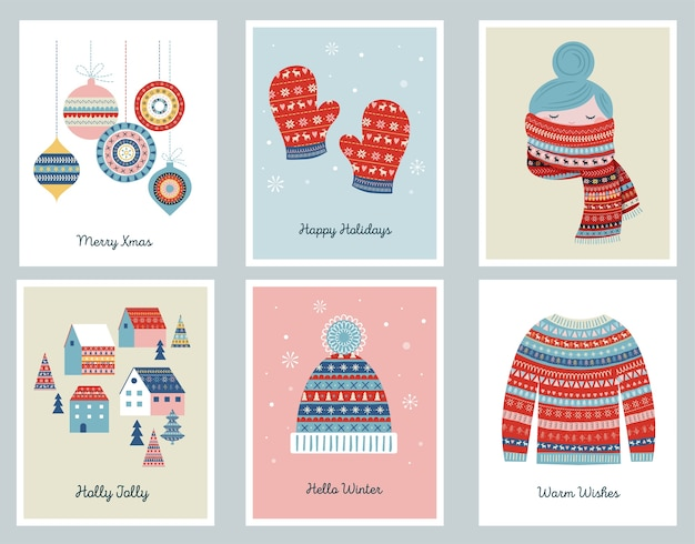 Wesołe kartki świąteczne z wzorzystymi ilustracjami i elementami.