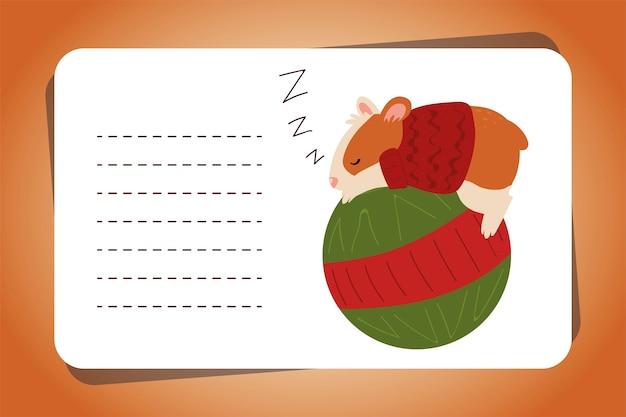 Wesołe kartki świąteczne ze śpiącym chomikiem na ilustracji wektorowych zwierząt piłki