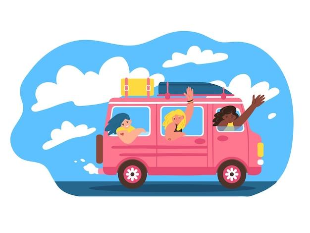 Wesołe kobiety podróżują samochodem van życie ruch ilustracji wektorowych w stylu płaski