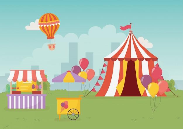 Wesołe miasteczko karnawał namiot stoisko lody jedzenie miasto rekreacja rozrywka